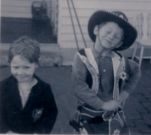donna aged 4 with cowboy brother
